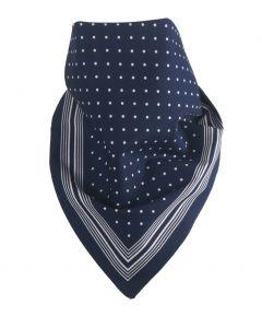 Donkerblauwe bandana / boerenzakdoek met stippen