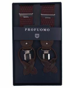 Luxe bretels in bordeaux met kleine witte stip