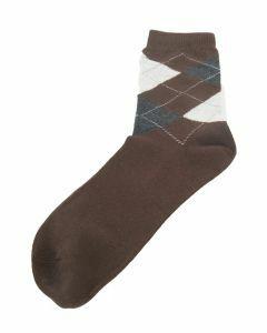 Kastanjebruine sokken met grijs-lichtgrijze ruit