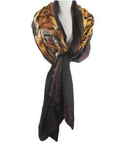 Sjaal in donkerbruin met fotoprint van een tijger