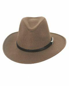 Lichtbruin wollen fedora hoed met centuur
