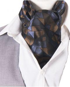 Set met marineblauwe-donkergrijze in grafisch design cravat + pochet