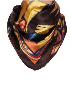 Vierkante satijnen sjaal in bruin