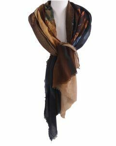 Wollen mousseline schilderij-sjaal met afbeelding van '' Het melkmeisje''