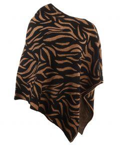 Poncho met tijgerprint in zwart en camel