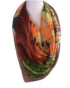 """Vierkante zijden sjaal met print van de """"de Kus"""" van Gustav Klimt"""