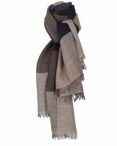 Fijn geweven sjaal met kleurvlakken in donkerblauw en bruin