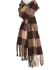 Zachte sjaal met ruiten in bruin en lichtbeige