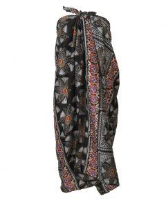 Donkerbruine katoenen sarong met bloemen print