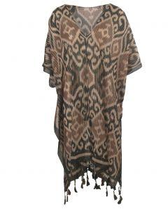 Katoenen kimono in legergroen en bruin-tinten