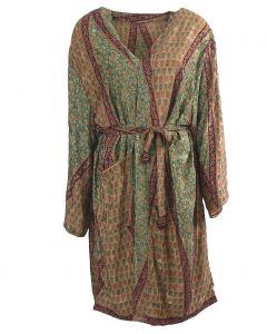 Zijden kimono met patchwork print