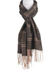 Zwarte sjaal met ruitpatroon in beige