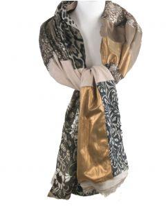Zijden sjaal met patchwork in beige van diverse prints