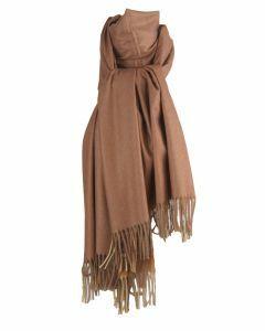 Kasjmier-blend sjaal in de kleuren bruin en okergeel