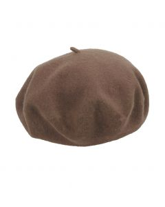 Wollen franse baret in middenbruin