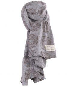Grijze kasjmiermix sjaal met ornament print