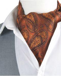 Cravat + pochet in cognac-bruin