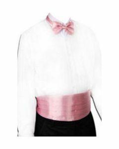 set van roze satijn met cumberband, vlinderstrik en pochet