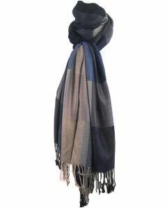 Pashmina sjaal met kleurvlakken in donkerblauw en grijs
