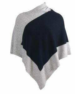 Kasjmier-blend poncho in marineblauw en grijs