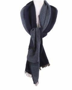 XL sjaal/omslagdoek met strepen in blauw-tinten