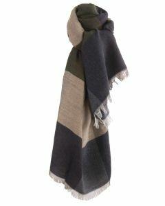 Fijn geweven sjaal met kleurvlakken in beige en legergroen