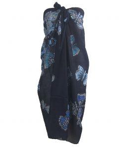 Marineblauwe pareo met vlinder print