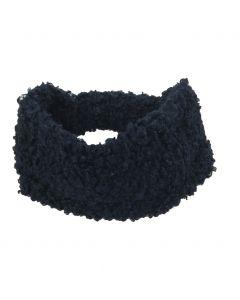 Haarband van kunst-schapenbont in donkerblauw