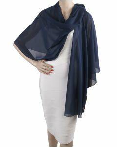 Donkerblauwe soepelvallende cape stola