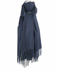 Kasjmier-blend sjaal in donker- en lichtblauw
