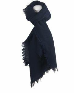 Alpaca-blend sjaal met franjes rondom in donkerblauw