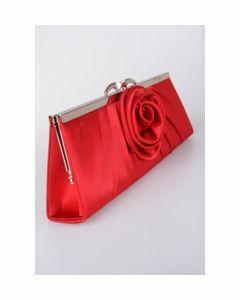 Rood satijnen avondtasje met  roos