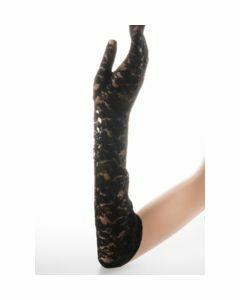 Zwarte stretch kanten avondhandschoenen