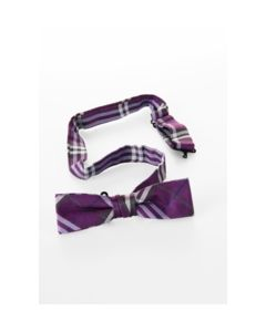 Vlinderstik purple/white tartan met verstelbaar bandje