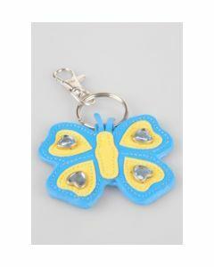 Blauw/ gele vlinder tashanger
