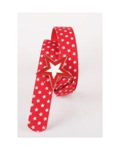 Rode canvas riem met witte sterrenprint