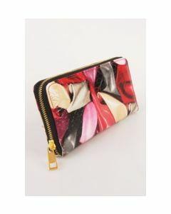 BoFF zip around lak portemonnee met krokostructuur en multicolorprint