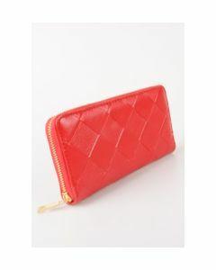 Rode boFF zip around portemonnee met vlechtstructuur