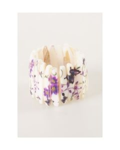 Parelmoer stretch armband met vlinder en bloesem print