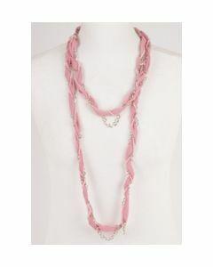 Roze crêpe voile sjaalketting met zilverkleurige details