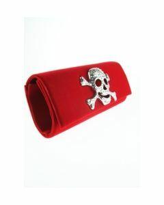 rood fluwelen avondtasje met happy strass skull