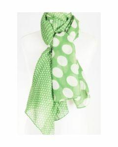 luchtige trendy groene sjaal met multi polka dot print