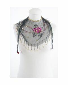 Zwart-roze tulen pelerine-kraag