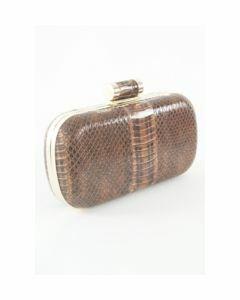 Bruine pythonprint box clutch