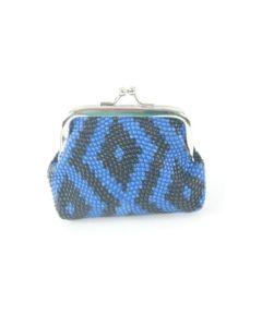 Kobalt blauwe knipportemonnee met aztec print