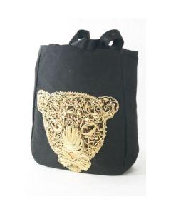 Zwarte shopper geborduurd met goudkleurig luipaard