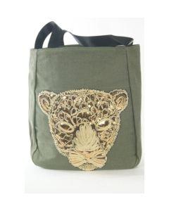 Groene shopper geborduurd met goudkleurig luipaard
