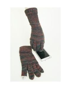 Trendy petrol/ terra gemeleerde I-touch gloves