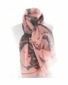 Zalmroze sjaal met zwart-grijze fotoprint van Marylin Monroe