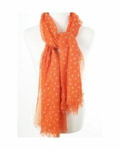 Luchtige oranje hartjes-sjaal